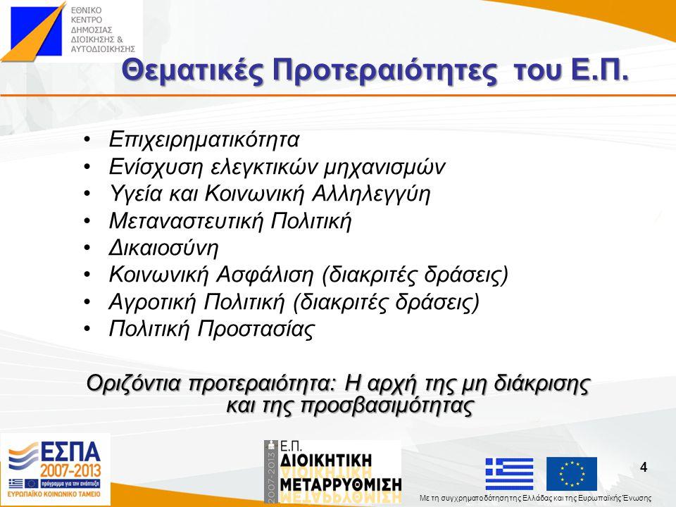 Με τη συγχρηματοδότηση της Ελλάδας και της Ευρωπαϊκής Ένωσης Άξονας Προτεραιότητας I Αναβάθμιση της ποιότητας των δημόσιων πολιτικών μέσω του εκσυγχρονισμού του ρυθμιστικού πλαισίου και του ανασχεδιασμού δομών και διαδικασιών.
