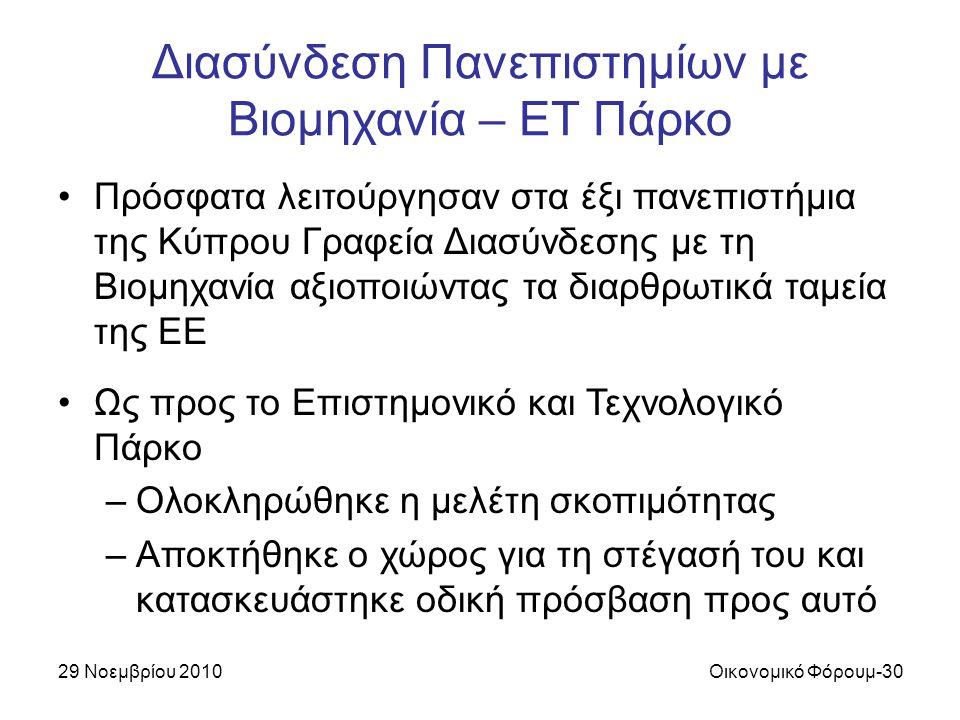 29 Νοεμβρίου 2010Οικονομικό Φόρουμ-30 Διασύνδεση Πανεπιστημίων με Βιομηχανία – ΕΤ Πάρκο Πρόσφατα λειτούργησαν στα έξι πανεπιστήμια της Κύπρου Γραφεία Διασύνδεσης με τη Βιομηχανία αξιοποιώντας τα διαρθρωτικά ταμεία της ΕΕ Ως προς το Επιστημονικό και Τεχνολογικό Πάρκο –Ολοκληρώθηκε η μελέτη σκοπιμότητας –Αποκτήθηκε ο χώρος για τη στέγασή του και κατασκευάστηκε οδική πρόσβαση προς αυτό