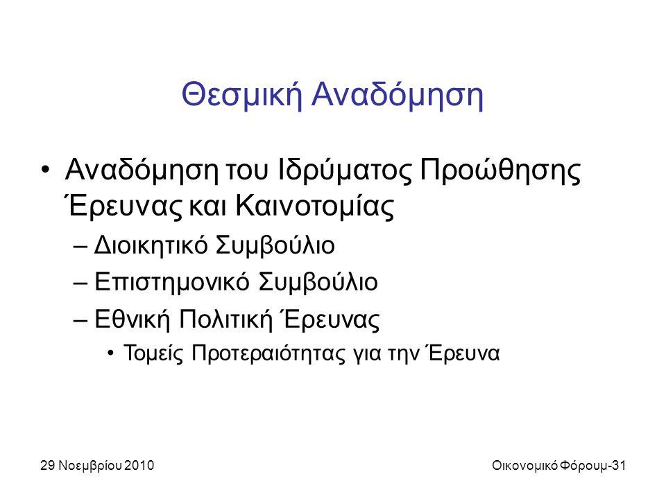 29 Νοεμβρίου 2010Οικονομικό Φόρουμ-31 Θεσμική Αναδόμηση Αναδόμηση του Ιδρύματος Προώθησης Έρευνας και Καινοτομίας –Διοικητικό Συμβούλιο –Επιστημονικό