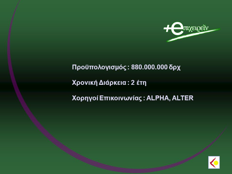 Προϋπολογισμός : 880.000.000 δρχ Χρονική Διάρκεια : 2 έτη Χορηγοί Επικοινωνίας : ALPHA, ALTER