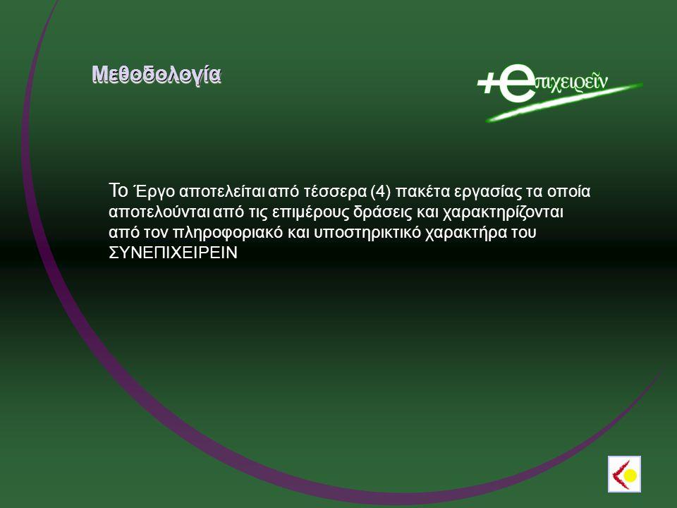 ΜεθοδολογίαΜεθοδολογία To Έργο αποτελείται από τέσσερα (4) πακέτα εργασίας τα οποία αποτελούνται από τις επιμέρους δράσεις και χαρακτηρίζονται από τον πληροφοριακό και υποστηρικτικό χαρακτήρα του ΣΥΝΕΠΙΧΕΙΡΕΙΝ