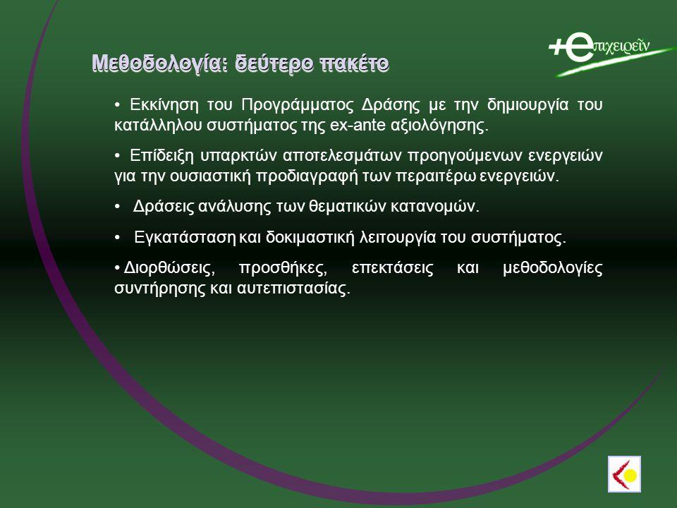 Μεθοδολογία: δεύτερο πακέτο Εκκίνηση του Προγράμματος Δράσης με την δημιουργία του κατάλληλου συστήματος της ex-ante αξιολόγησης.