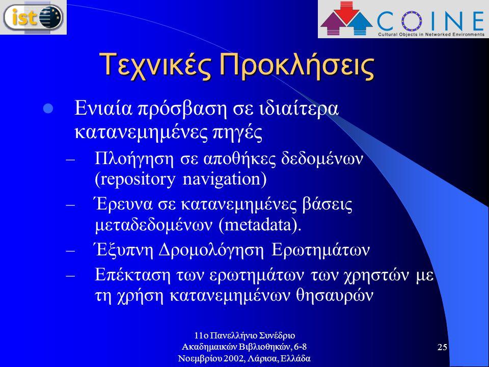 11o Πανελλήνιο Συνέδριο Ακαδημαικών Βιβλιοθηκών, 6-8 Νοεμβρίου 2002, Λάρισα, Ελλάδα 25 Τεχνικές Προκλήσεις Ενιαία πρόσβαση σε ιδιαίτερα κατανεμημένες πηγές – Πλοήγηση σε αποθήκες δεδομένων (repository navigation) – Έρευνα σε κατανεμημένες βάσεις μεταδεδομένων (metadata).