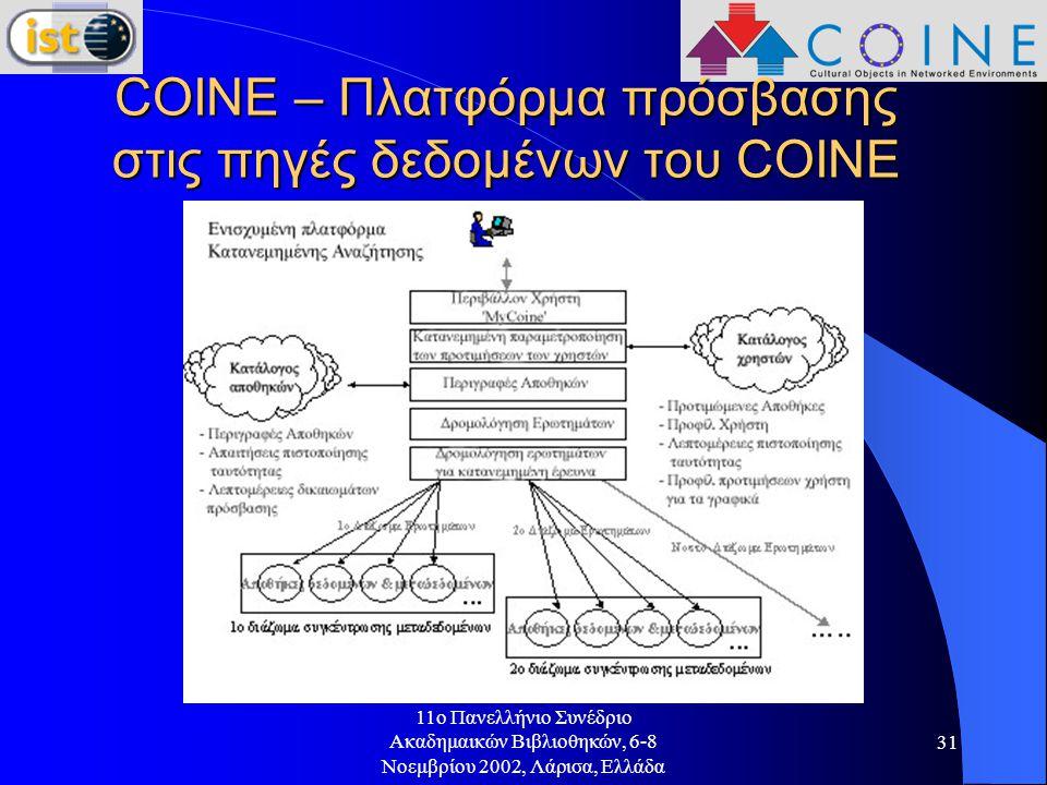 11o Πανελλήνιο Συνέδριο Ακαδημαικών Βιβλιοθηκών, 6-8 Νοεμβρίου 2002, Λάρισα, Ελλάδα 31 COINE – Πλατφόρμα πρόσβασης στις πηγές δεδομένων του COINE