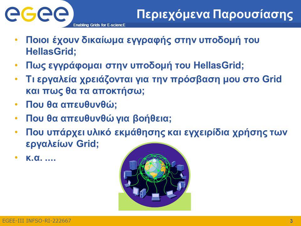 Enabling Grids for E-sciencE EGEE-III INFSO-RI-222667 3 Περιεχόμενα Παρουσίασης Ποιοι έχουν δικαίωμα εγγραφής στην υποδομή του HellasGrid; Πως εγγράφομαι στην υποδομή του HellasGrid; Τι εργαλεία χρειάζονται για την πρόσβαση μου στο Grid και πως θα τα αποκτήσω; Που θα απευθυνθώ; Που θα απευθυνθώ για βοήθεια; Που υπάρχει υλικό εκμάθησης και εγχειρίδια χρήσης των εργαλείων Grid; κ.α.....