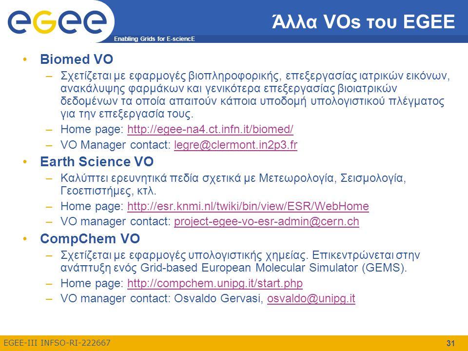 Enabling Grids for E-sciencE EGEE-III INFSO-RI-222667 31 Άλλα VOs του EGEE Biomed VO –Σχετίζεται με εφαρμογές βιοπληροφορικής, επεξεργασίας ιατρικών εικόνων, ανακάλυψης φαρμάκων και γενικότερα επεξεργασίας βιοιατρικών δεδομένων τα οποία απαιτούν κάποια υποδομή υπολογιστικού πλέγματος για την επεξεργασία τους.