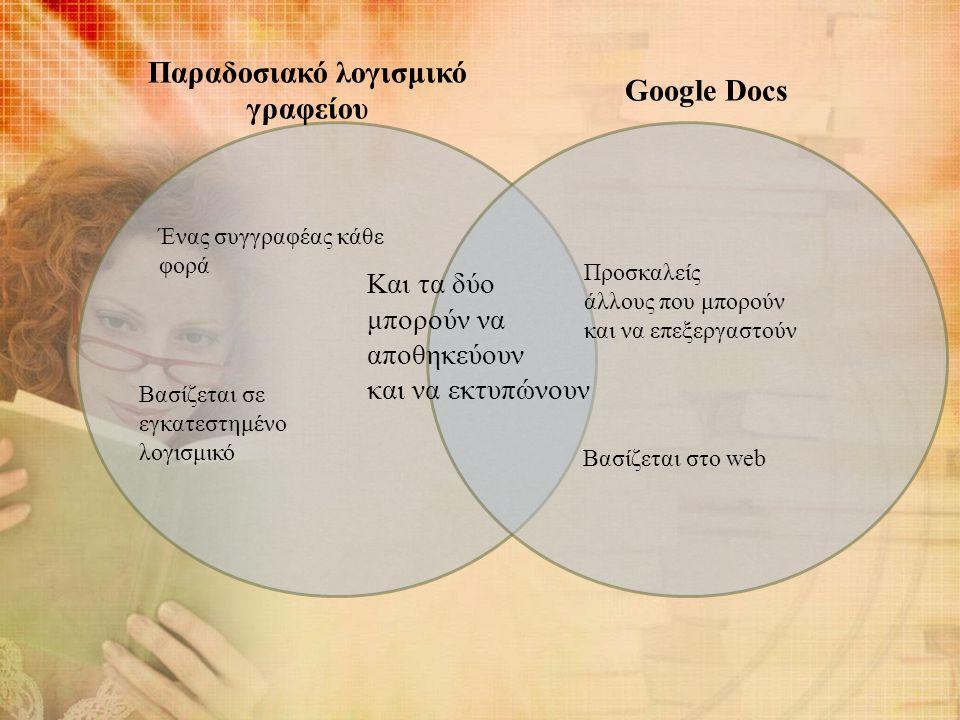 Παραδοσιακό λογισμικό γραφείου Google Docs Ένας συγγραφέας κάθε φορά Βασίζεται σε εγκατεστημένο λογισμικό Και τα δύο μπορούν να αποθηκεύουν και να εκτυπώνουν Προσκαλείς άλλους που μπορούν και να επεξεργαστούν Βασίζεται στο web
