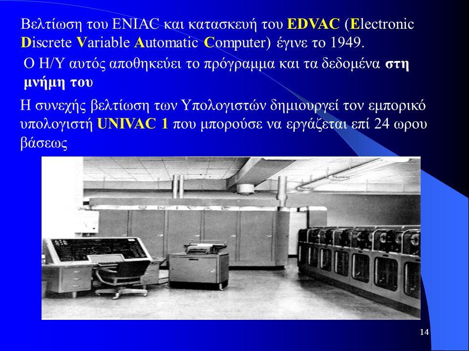 14 Βελτίωση του ENIAC και κατασκευή του EDVAC (Electronic Discrete Variable Automatic Computer) έγινε το 1949. Ο Η/Υ αυτός αποθηκεύει το πρόγραμμα και
