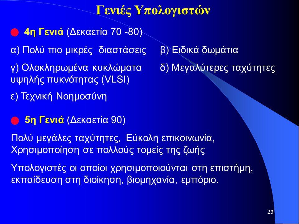 23 4η Γενιά (Δεκαετία 70 -80) α) Πολύ πιο μικρές διαστάσειςβ) Ειδικά δωμάτια γ) Ολοκληρωμένα κυκλώματα δ) Μεγαλύτερες ταχύτητες υψηλής πυκνότητας (VLS