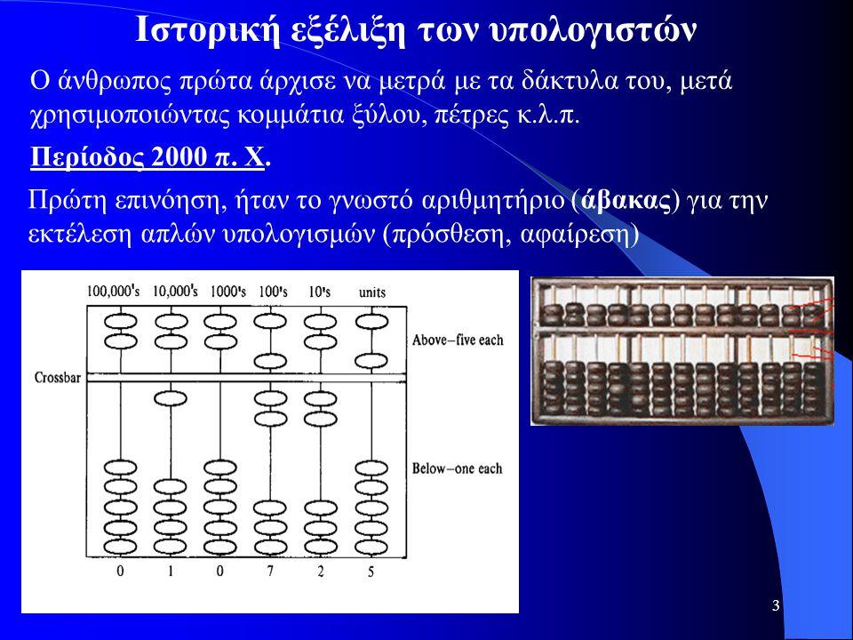 3 Iστορική εξέλιξη των υπολογιστών Ο άνθρωπος πρώτα άρχισε να μετρά με τα δάκτυλα του, μετά χρησιμοποιώντας κομμάτια ξύλου, πέτρες κ.λ.π. Περίοδος 200