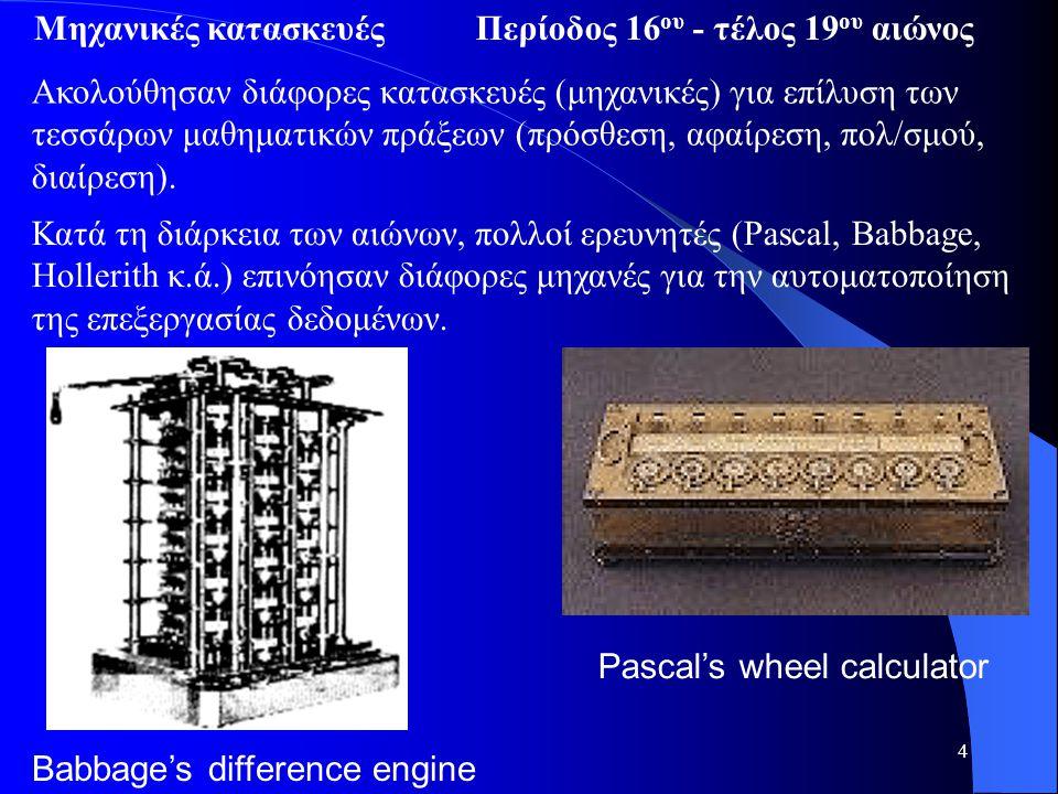 4 Ακολούθησαν διάφορες κατασκευές (μηχανικές) για επίλυση των τεσσάρων μαθηματικών πράξεων (πρόσθεση, αφαίρεση, πολ/σμού, διαίρεση). Pascal's wheel ca