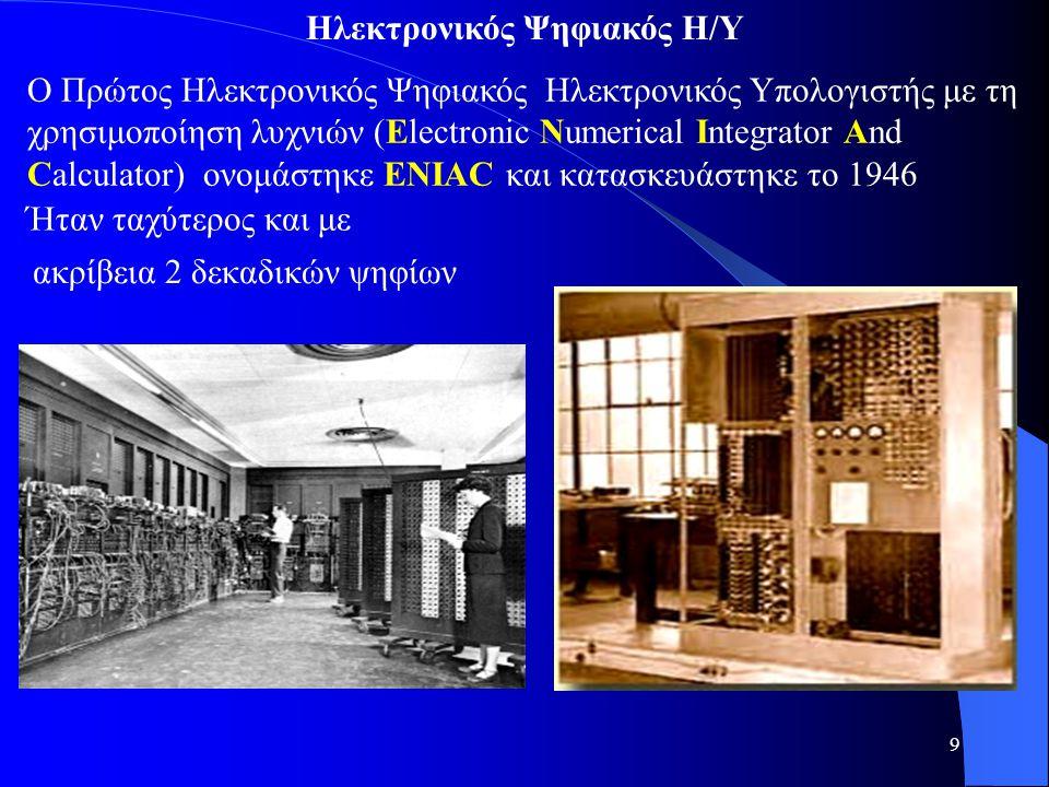 9 Ο Πρώτος Ηλεκτρονικός Ψηφιακός Ηλεκτρονικός Υπολογιστής με τη χρησιμοποίηση λυχνιών (Electronic Numerical Integrator And Calculator) ονομάστηκε ENIA
