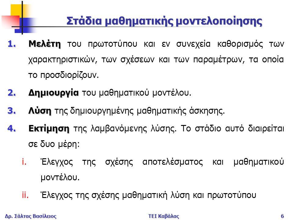 Δρ. Σάλτας ΒασίλειοςΤΕΙ Καβάλας6 Στάδια μαθηματικής μοντελοποίησης 1.Μελέτη 1.Μελέτη του πρωτοτύπου και εν συνεχεία καθορισμός των χαρακτηριστικών, τω