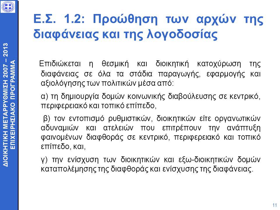 ΔΙΟΙΚΗΤΙΚΗ ΜΕΤΑΡΡΥΘΜΙΣΗ 2007 – 2013 ΕΠΙΧΕΙΡΗΣΙΑΚΟ ΠΡΟΓΡΑΜΜΑ ΔΙΟΙΚΗΤΙΚΗ ΜΕΤΑΡΡΥΘΜΙΣΗ 2007 – 2013 ΕΠΙΧΕΙΡΗΣΙΑΚΟ ΠΡΟΓΡΑΜΜΑ 11 Ε.Σ. 1.2: Προώθηση των αρχώ