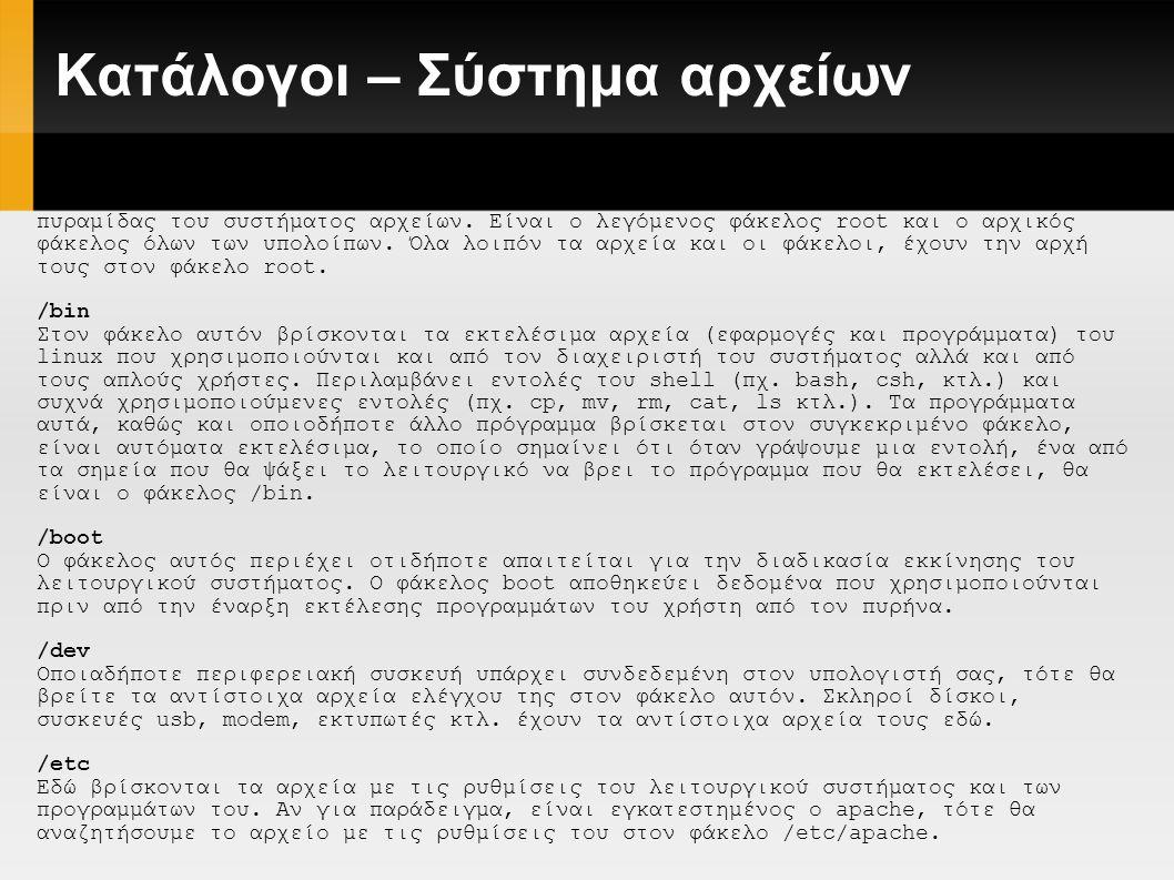 Κατάλογοι – Σύστημα αρχείων.../home Εδώ μένουν οι χρήστες.