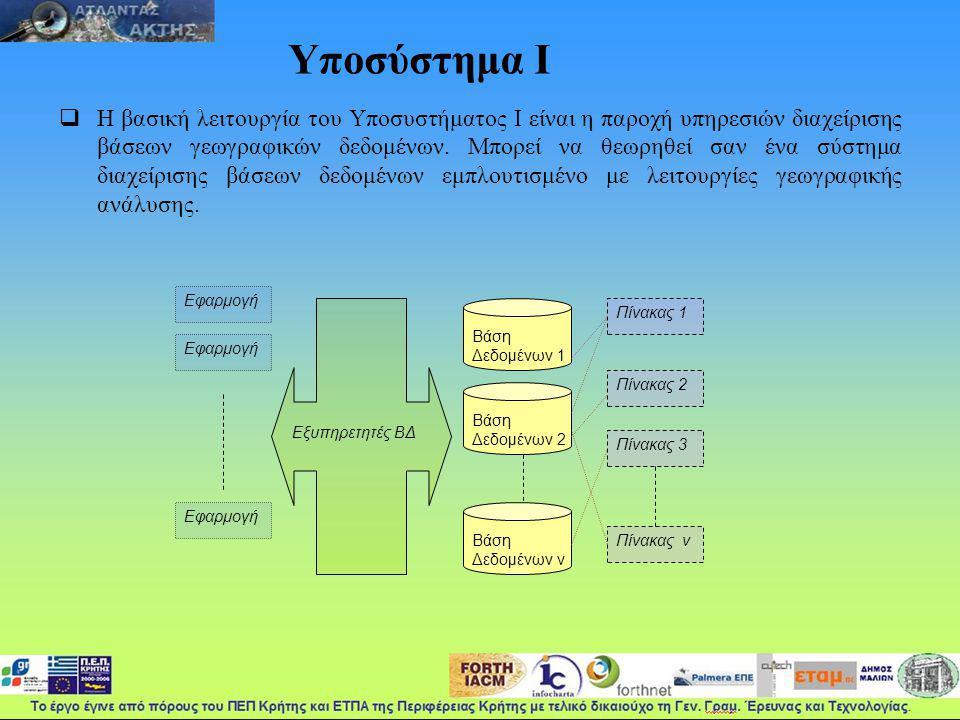 Υποσύστημα Ι  Η βασική λειτουργία του Υποσυστήματος Ι είναι η παροχή υπηρεσιών διαχείρισης βάσεων γεωγραφικών δεδομένων.