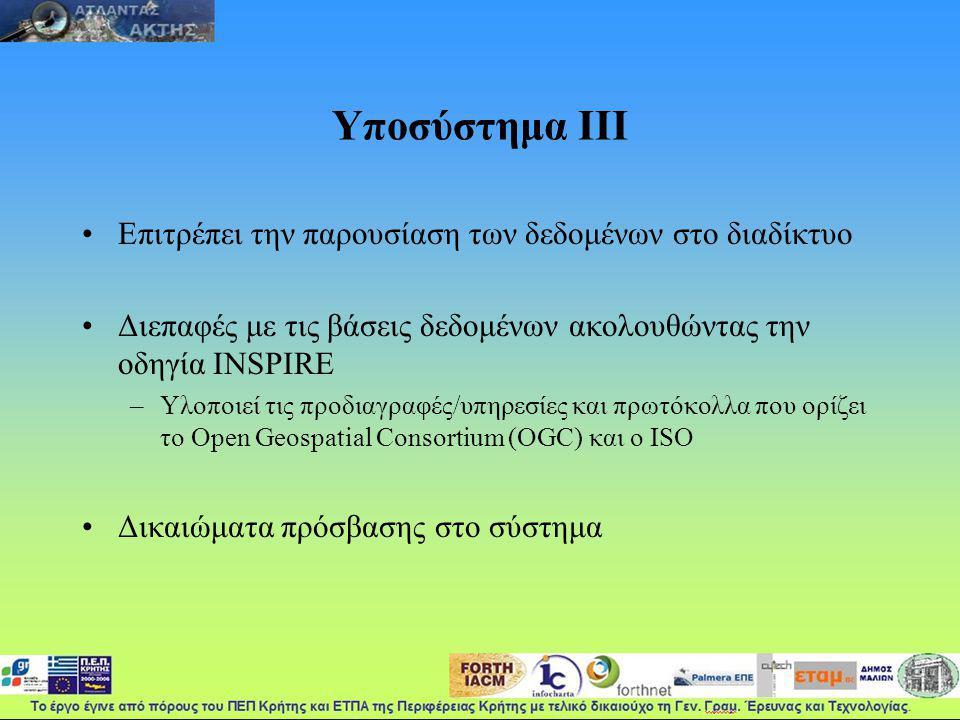 Υποσύστημα ΙΙΙ Επιτρέπει την παρουσίαση των δεδομένων στο διαδίκτυο Διεπαφές με τις βάσεις δεδομένων ακολουθώντας την οδηγία INSPIRE –Υλοποιεί τις προδιαγραφές/υπηρεσίες και πρωτόκολλα που ορίζει το Open Geospatial Consortium (OGC) και ο ISO Δικαιώματα πρόσβασης στο σύστημα