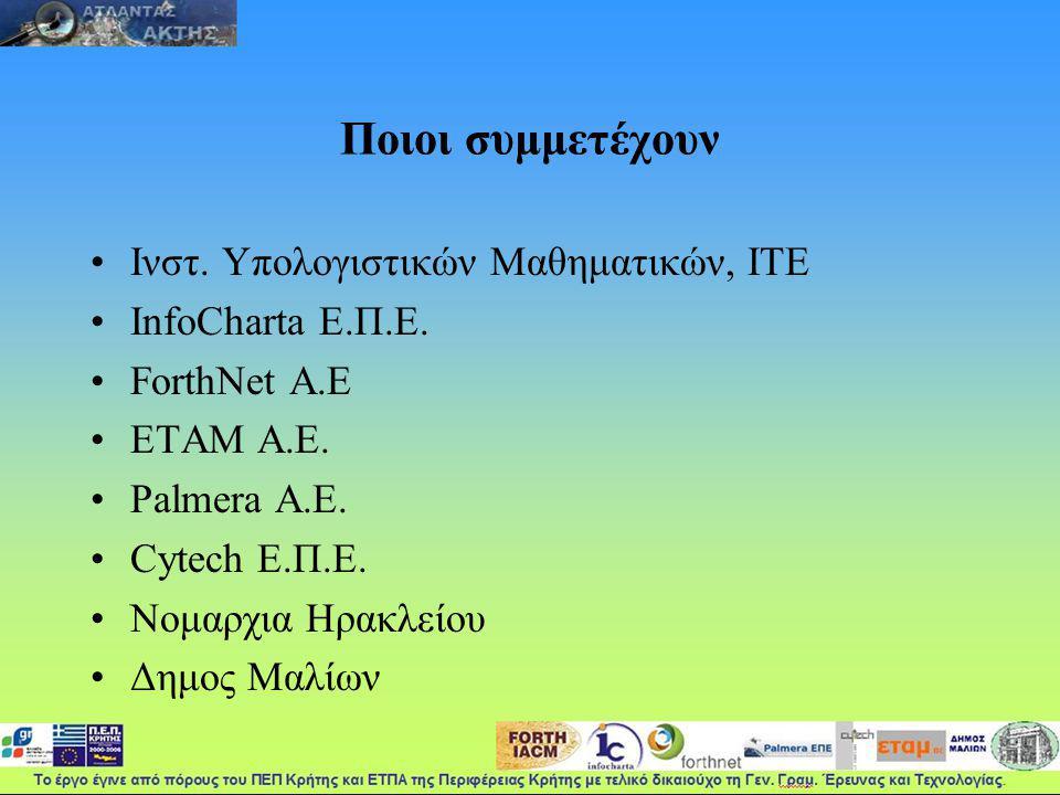 Ποιοι συμμετέχουν Ινστ. Υπολογιστικών Μαθηματικών, ΙΤΕ InfoCharta Ε.Π.Ε.