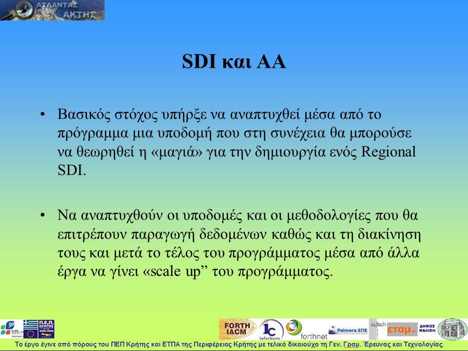 SDI και ΑΑ Βασικός στόχος υπήρξε να αναπτυχθεί μέσα από το πρόγραμμα μια υποδομή που στη συνέχεια θα μπορούσε να θεωρηθεί η «μαγιά» για την δημιουργία ενός Regional SDI.
