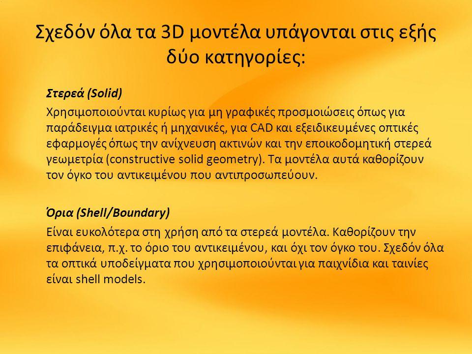 Σχεδόν όλα τα 3D μοντέλα υπάγονται στις εξής δύο κατηγορίες: Στερεά (Solid) Χρησιμοποιούνται κυρίως για μη γραφικές προσμοιώσεις όπως για παράδειγμα ιατρικές ή μηχανικές, για CAD και εξειδικευμένες οπτικές εφαρμογές όπως την ανίχνευση ακτινών και την εποικοδομητική στερεά γεωμετρία (constructive solid geometry).