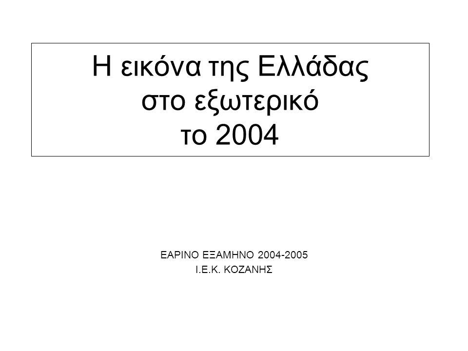 Η εικόνα της Ελλάδας στο εξωτερικό το 2004 ΕΑΡΙΝΟ ΕΞΑΜΗΝΟ 2004-2005 Ι.Ε.Κ. ΚΟΖΑΝΗΣ