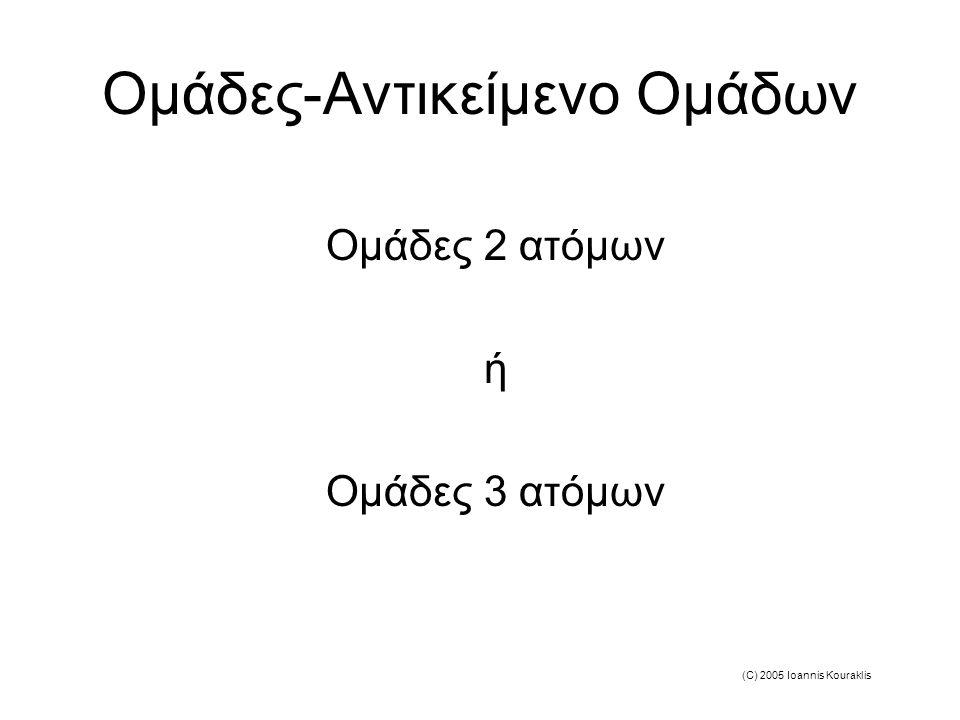 (C) 2005 Ioannis Kouraklis Ομάδες-Αντικείμενο Ομάδων Ομάδες 2 ατόμων ή Ομάδες 3 ατόμων