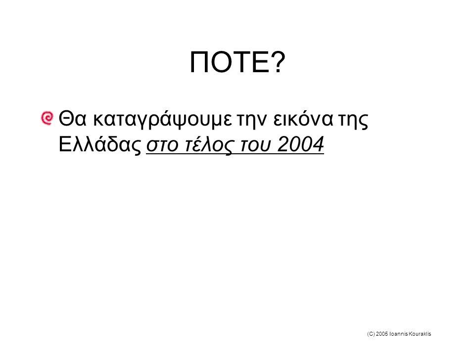 (C) 2005 Ioannis Kouraklis ΠΟΤΕ Θα καταγράψουμε την εικόνα της Ελλάδας στο τέλος του 2004