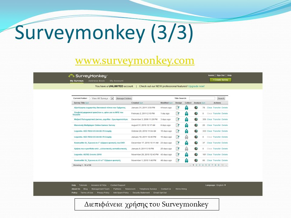Surveymonkey (3/3) Διεπιφάνεια χρήσης του Surveymonkey www.surveymonkey.com