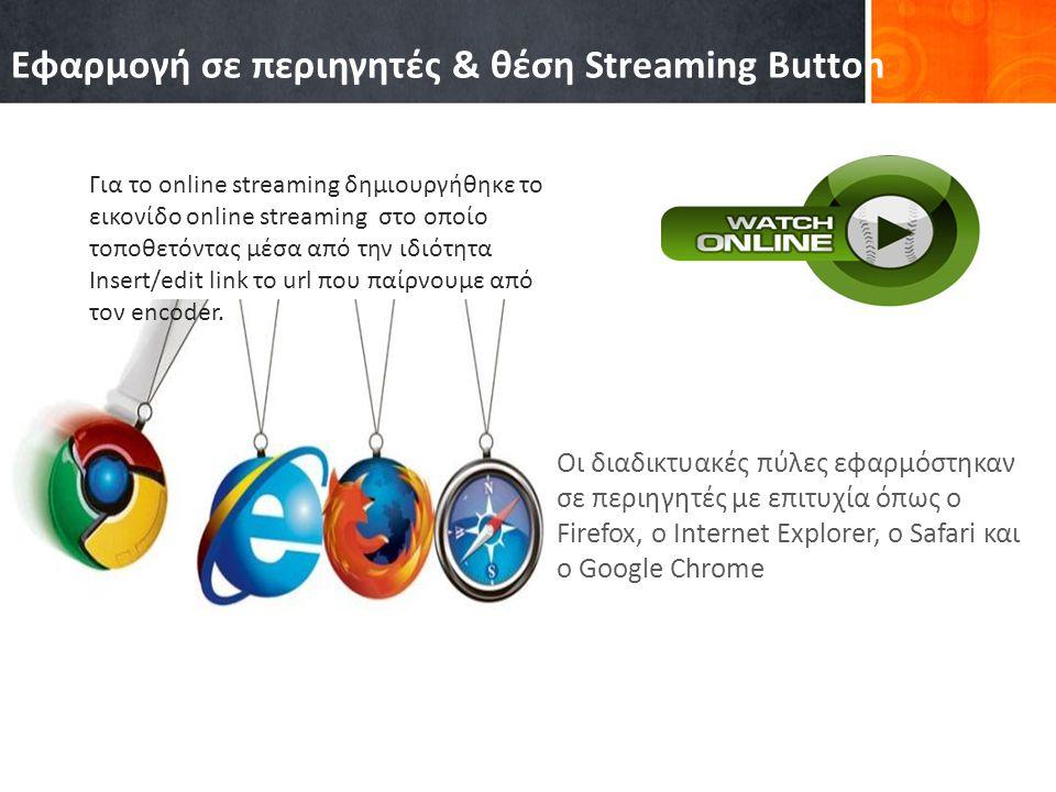 Οι διαδικτυακές πύλες εφαρμόστηκαν σε περιηγητές με επιτυχία όπως ο Firefox, o Internet Explorer, o Safari και ο Google Chrome Εφαρμογή σε περιηγητές & θέση Streaming Button Για το online streaming δημιουργήθηκε το εικονίδο online streaming στο οποίο τοποθετόντας μέσα από την ιδιότητα Insert/edit link το url που παίρνουμε από τον encoder.