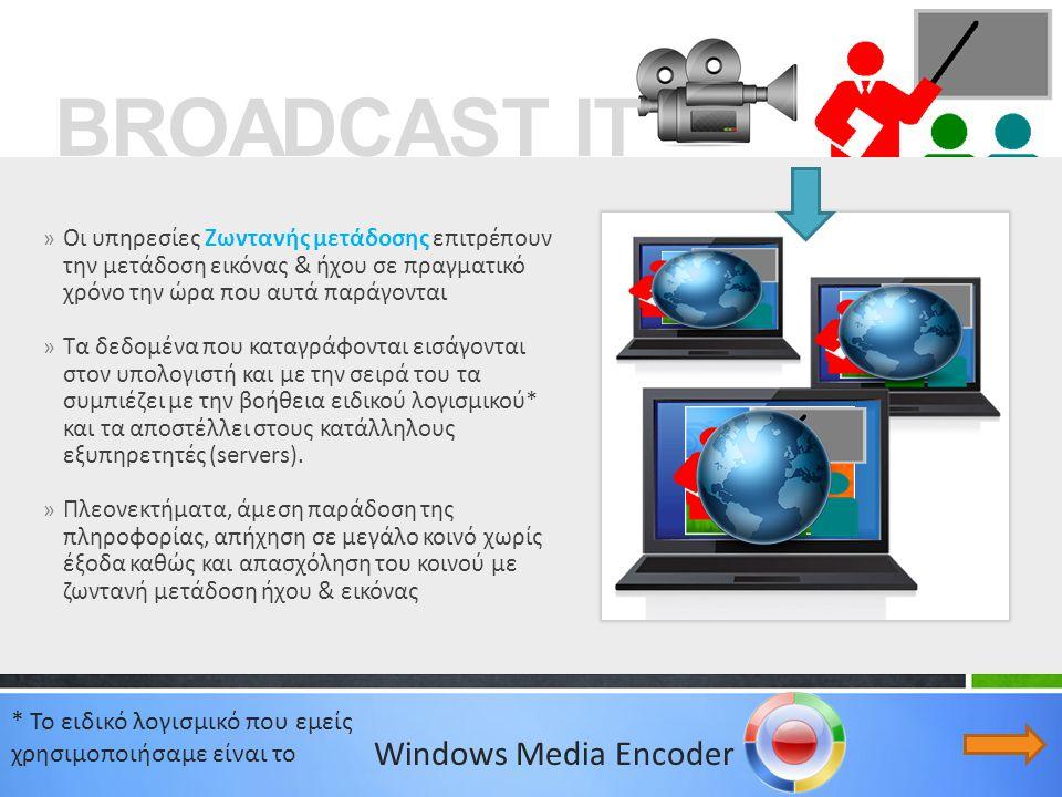 » Οι υπηρεσίες Ζωντανής μετάδοσης επιτρέπουν την μετάδοση εικόνας & ήχου σε πραγματικό χρόνο την ώρα που αυτά παράγονται » Τα δεδομένα που καταγράφονται εισάγονται στον υπολογιστή και με την σειρά του τα συμπιέζει με την βοήθεια ειδικού λογισμικού* και τα αποστέλλει στους κατάλληλους εξυπηρετητές (servers).