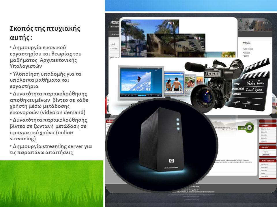 Σκοπός της πτυχιακής αυτής : Δημιουργία εικονικού εργαστηρίου και θεωρίας του μαθήματος Αρχιτεκτονικής Υπολογιστών Υλοποίηση υποδομής για τα υπόλοιπα μαθήματα και εργαστήρια Δυνατότητα παρακολούθησης αποθηκευμένων βίντεο σε κάθε χρήστη μέσω μετάδοσης εικονοροών (video on demand) Δυνατότητα παρακολούθησης βίντεο σε ζωντανή μετάδοση σε πραγματικό χρόνο (online streaming) Δημιουργία streaming server για τις παραπάνω απαιτήσεις