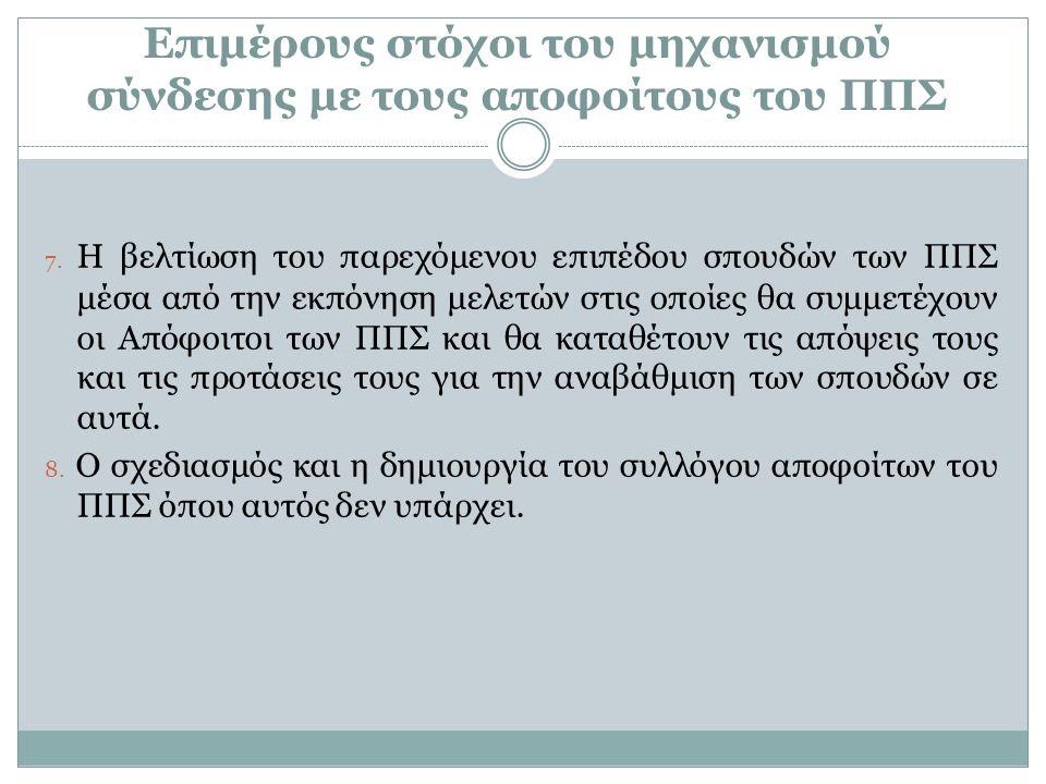 Επιμέρους στόχοι του μηχανισμού σύνδεσης με τους αποφοίτους του ΠΠΣ 7.