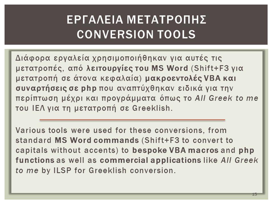 Διάφορα εργαλεία χρησιμοποιήθηκαν για αυτές τις μετατροπές, από λειτουργίες του MS Word (Shift+F3 για μετατροπή σε άτονα κεφαλαία) μακροεντολές VBA και συναρτήσεις σε php που αναπτύχθηκαν ειδικά για την περίπτωση μέχρι και προγράμματα όπως το All Greek to me του ΙΕΛ για τη μετατροπή σε Greeklish.
