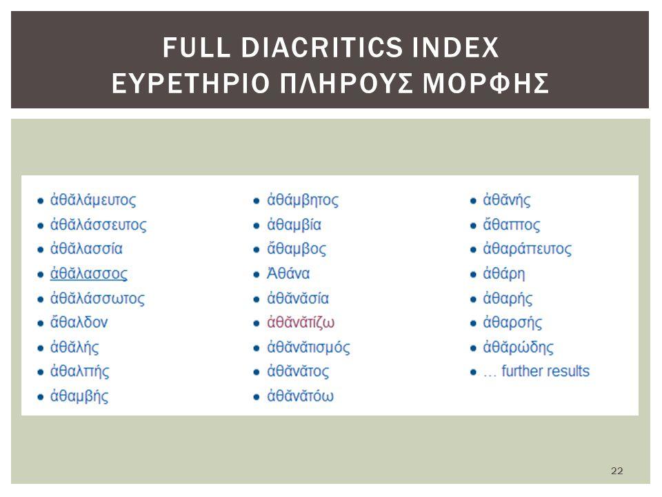 FULL DIACRITICS INDEX ΕΥΡΕΤΗΡΙΟ ΠΛΗΡΟΥΣ ΜΟΡΦΗΣ 22