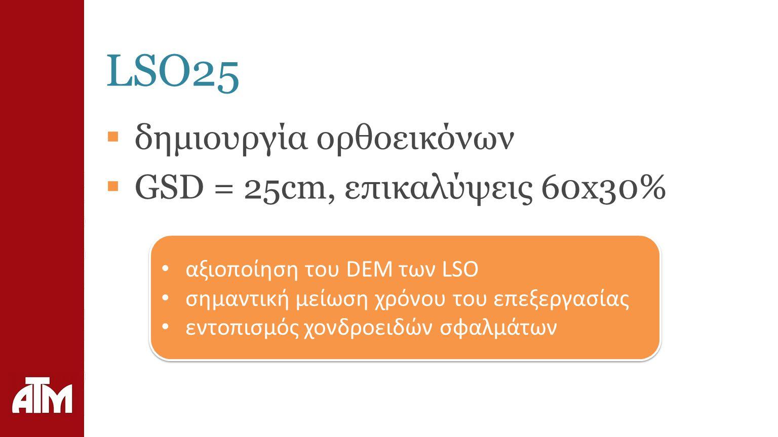 LSO25  δημιουργία ορθοεικόνων  GSD = 25cm, επικαλύψεις 60x30% αξιοποίηση του DEM των LSO σημαντική μείωση χρόνου του επεξεργασίας εντοπισμός χονδροειδών σφαλμάτων αξιοποίηση του DEM των LSO σημαντική μείωση χρόνου του επεξεργασίας εντοπισμός χονδροειδών σφαλμάτων