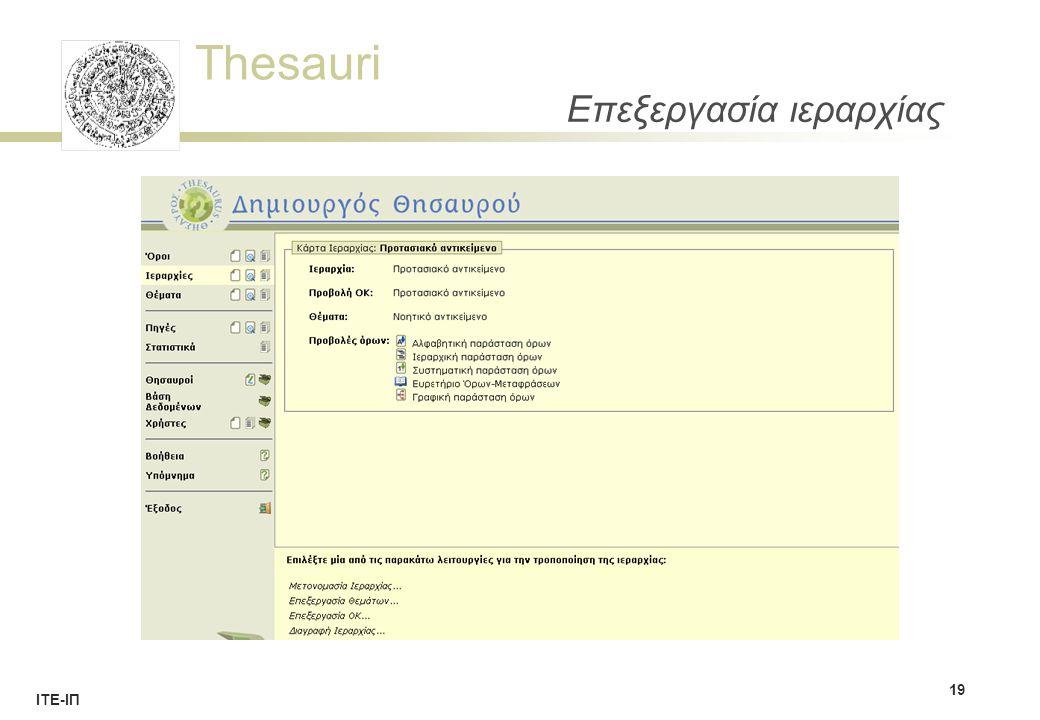 Thesauri ΙΤΕ-ΙΠ Επεξεργασία ιεραρχίας 19