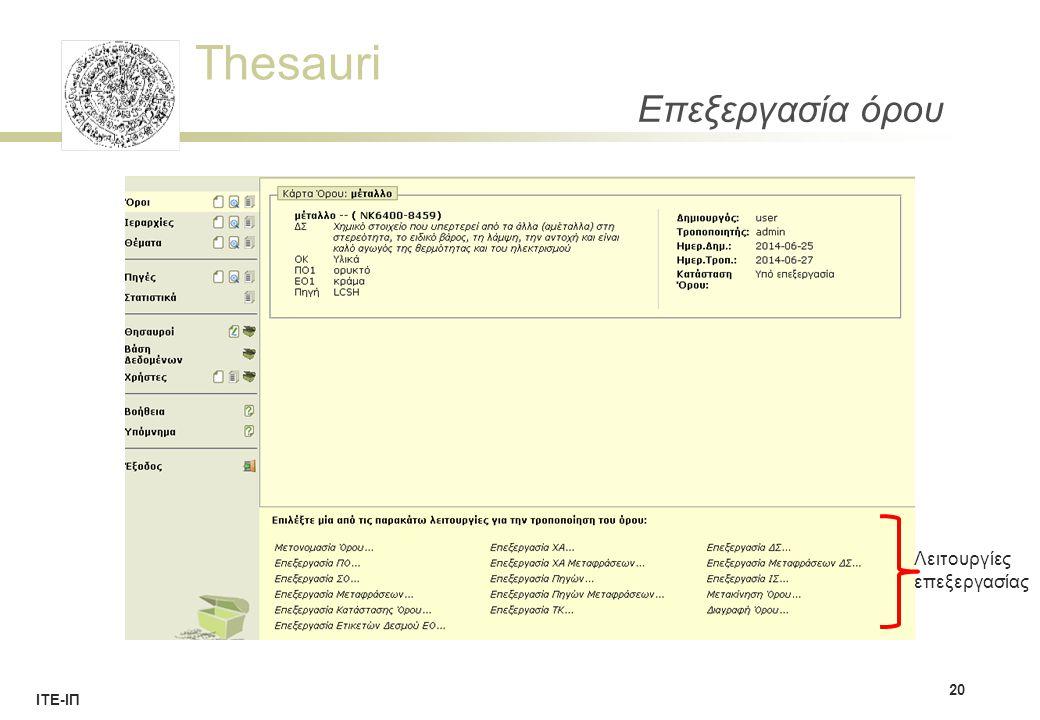 Thesauri ΙΤΕ-ΙΠ Επεξεργασία όρου 20 Λειτουργίες επεξεργασίας