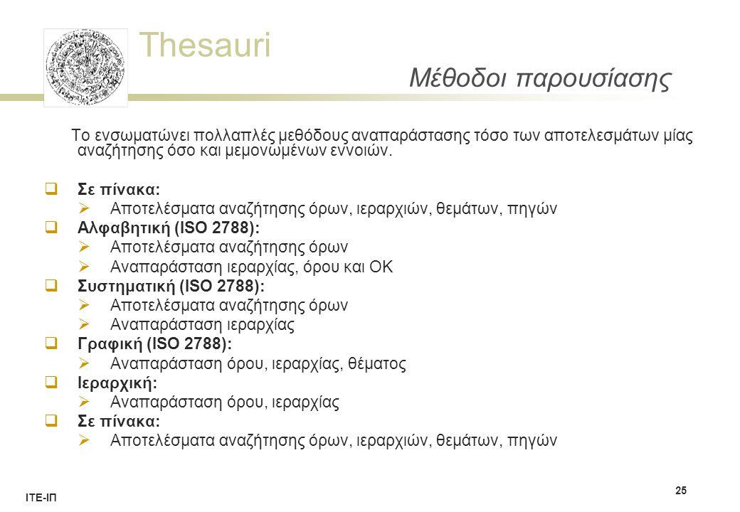 Thesauri ΙΤΕ-ΙΠ Μέθοδοι παρουσίασης Το ενσωματώνει πολλαπλές μεθόδους αναπαράστασης τόσο των αποτελεσμάτων μίας αναζήτησης όσο και μεμονωμένων εννοιών.
