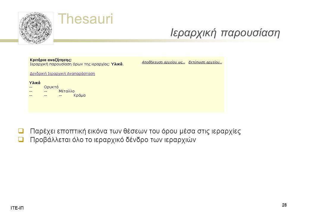 Thesauri ΙΤΕ-ΙΠ Ιεραρχική παρουσίαση 28  Παρέχει εποπτική εικόνα των θέσεων του όρου μέσα στις ιεραρχίες  Προβάλλεται όλο το ιεραρχικό δένδρο των ιεραρχιών