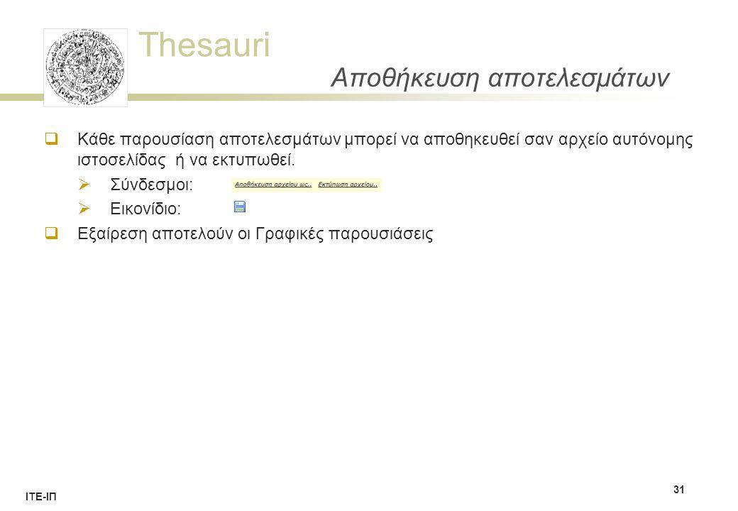 Thesauri ΙΤΕ-ΙΠ Αποθήκευση αποτελεσμάτων  Κάθε παρουσίαση αποτελεσμάτων μπορεί να αποθηκευθεί σαν αρχείο αυτόνομης ιστοσελίδας ή να εκτυπωθεί.