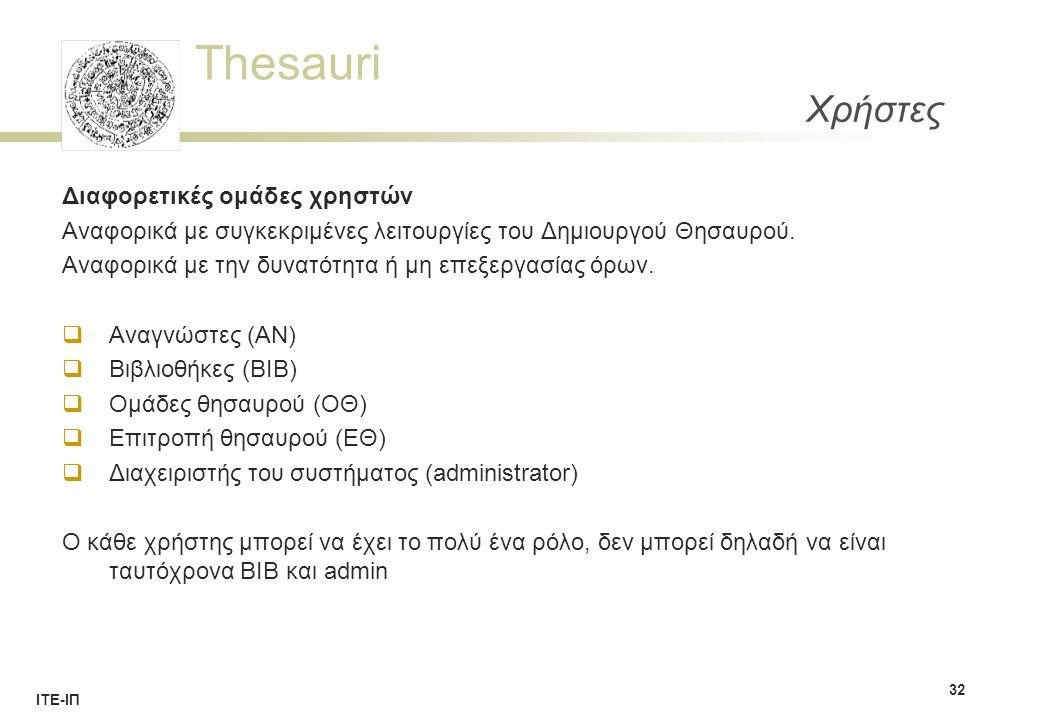 Thesauri ΙΤΕ-ΙΠ Χρήστες Διαφορετικές ομάδες χρηστών Αναφορικά με συγκεκριμένες λειτουργίες του Δημιουργού Θησαυρού.