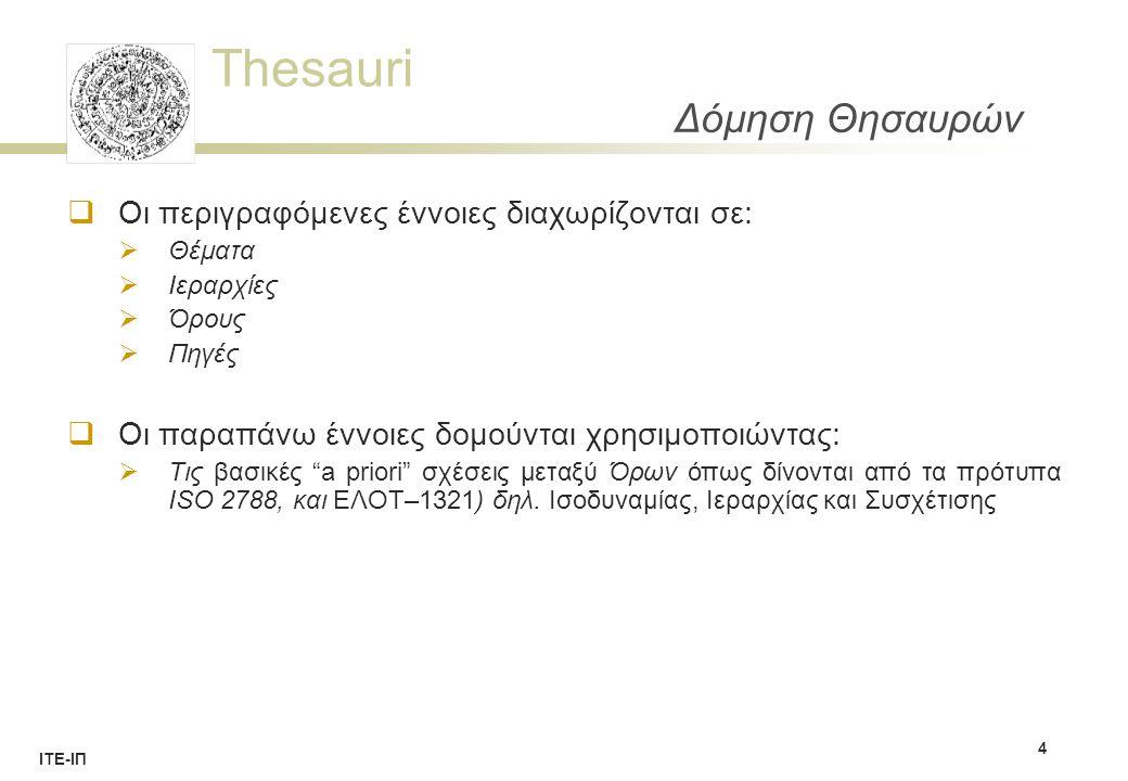 Thesauri ΙΤΕ-ΙΠ Ιεραρχίες - Σχέσεις  Κάθε ιεραρχία συνδέεται με ένα θέμα και σε αυτές υπάγονται υποχρεωτικά οι όροι του θησαυρού.
