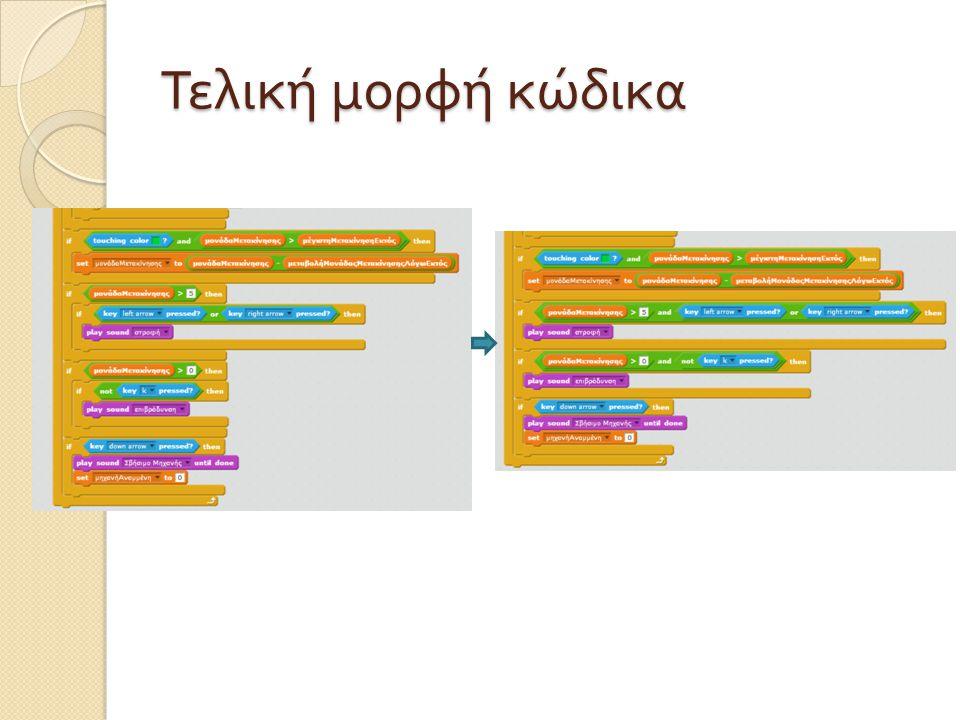 Τελική μορφή κώδικα