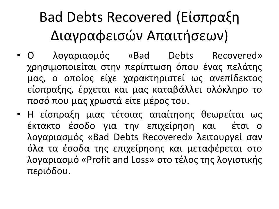 Bad Debts Recovered (Είσπραξη Διαγραφεισών Απαιτήσεων) Λογιστικές Εγγραφές Είσπραξη Διαγραφεισών Απαιτήσεων Dr: Cash A/c or Bank A/c Cr: Bad Debts Recovered A/c Μεταφορά Λογαριασμού «Bad Debts Recovered» στο λογαριασμό «Profit and Loss» Dr: Bad Debts Recovered A/c Cr: Profit and Loss A/c