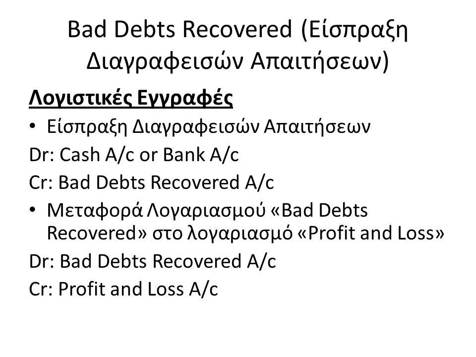 Bad Debts Recovered (Είσπραξη Διαγραφεισών Απαιτήσεων) Λογιστικές Εγγραφές Είσπραξη Διαγραφεισών Απαιτήσεων Dr: Cash A/c or Bank A/c Cr: Bad Debts Rec