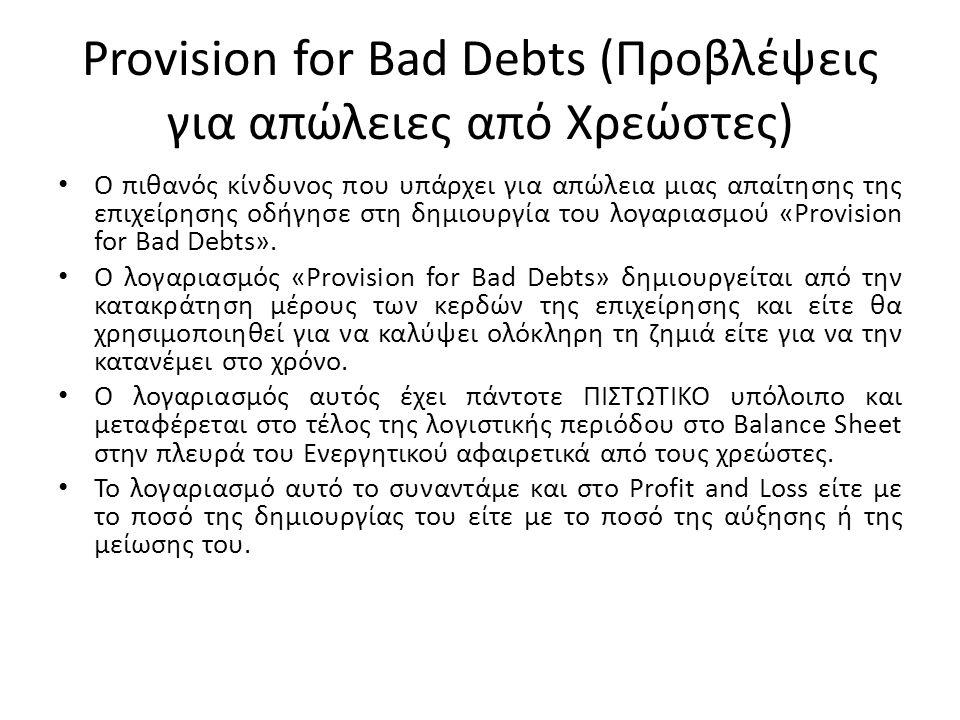 Provision for Bad Debts (Προβλέψεις για απώλειες από Χρεώστες) Ο πιθανός κίνδυνος που υπάρχει για απώλεια μιας απαίτησης της επιχείρησης οδήγησε στη δ