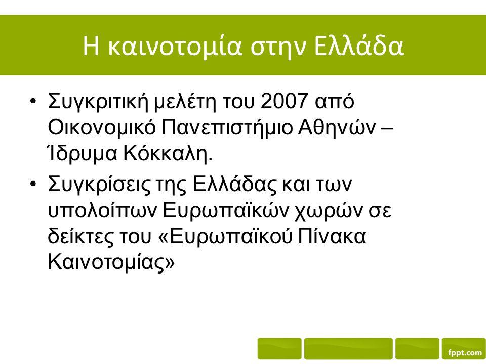 Η καινοτομία στην Ελλάδα Συγκριτική μελέτη του 2007 από Οικονομικό Πανεπιστήμιο Αθηνών – Ίδρυμα Κόκκαλη. Συγκρίσεις της Ελλάδας και των υπολοίπων Ευρω