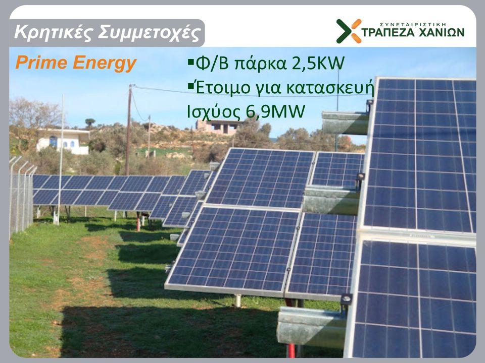  Φ/Β πάρκα 2,5ΚW  Έτοιμο για κατασκευή Ισχύος 6,9MW