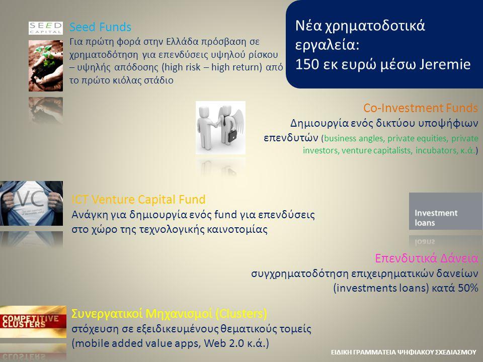 Νέα χρηματοδοτικά εργαλεία: 150 εκ ευρώ μέσω Jeremie Seed Funds Για πρώτη φορά στην Ελλάδα πρόσβαση σε χρηματοδότηση για επενδύσεις υψηλού ρίσκου – υψ