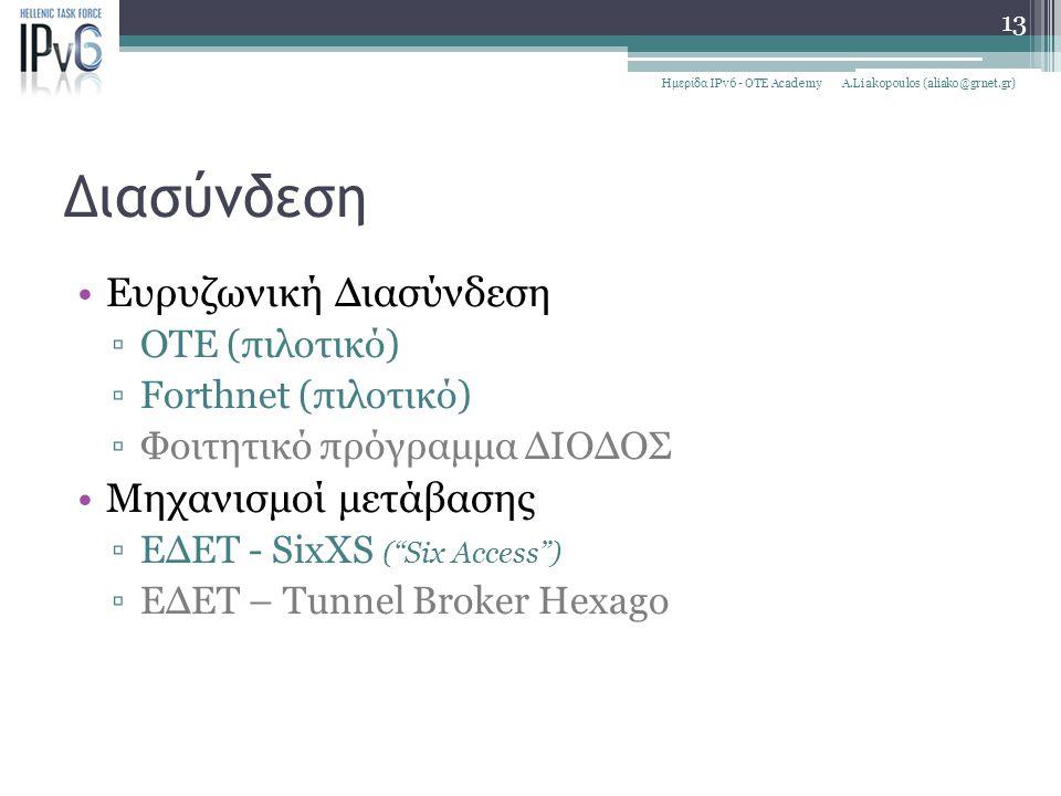 """Διασύνδεση Ευρυζωνική Διασύνδεση ▫ΟΤΕ (πιλοτικό) ▫Forthnet (πιλοτικό) ▫Φοιτητικό πρόγραμμα ΔΙΟΔΟΣ Μηχανισμοί μετάβασης ▫ΕΔΕΤ - SixXS (""""Six Access"""") ▫Ε"""